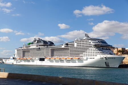 Valletta, Malta - 7 January 2020: MSC Grandiosa in port