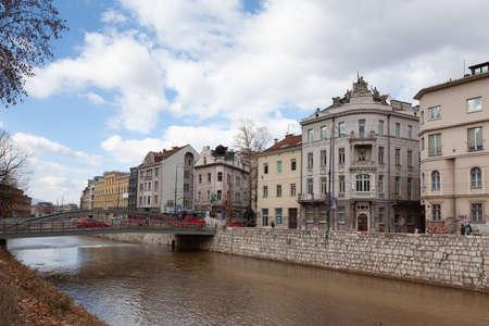 Sarajevo, Bosnia and Herzegovina - 27 February 2019: Obala Kulina bana, architecture of Sarajevo Editorial