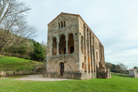Oviedo, Spain - 11 December 2018: Church of St Mary at Mount Naranco