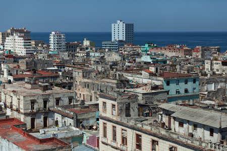 Havana, Cuba - 8 February 2015: rooftops and urban sprawl view from bacardi building
