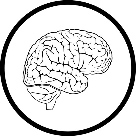 Vector brain icon. Black and white. Simply change.