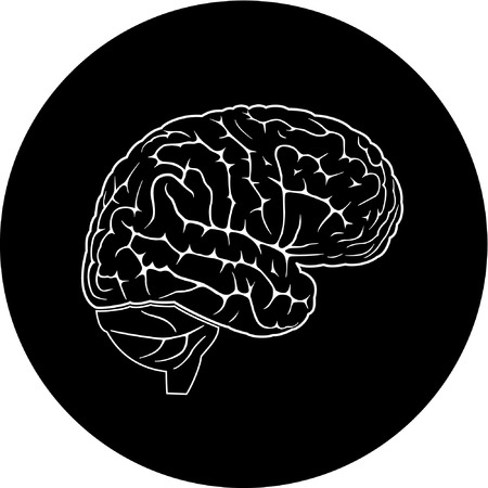 Vector brain icon. Black and white. Simply change.  Illustration