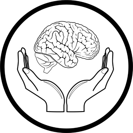 Vector brain in hands icon. Black and white. Simply change.  Vector