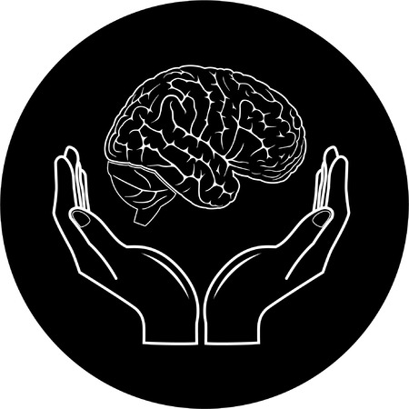 thinking icon: Protection of brain. Vector medical icon. Black and white. Simply change.