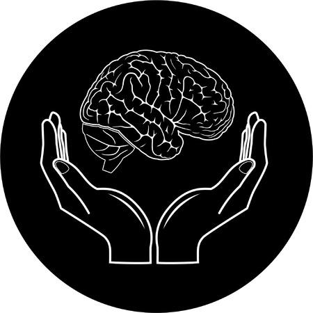 anatomy brain: Protezione dei cervello. Vettore mediche icona. Bianco e nero. Semplicemente cambiare.