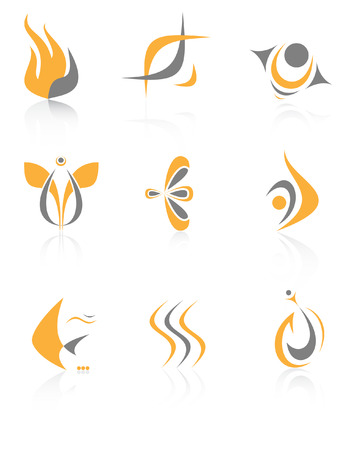 Vector abstract internet icons. Orange set. Simply change.  Vector