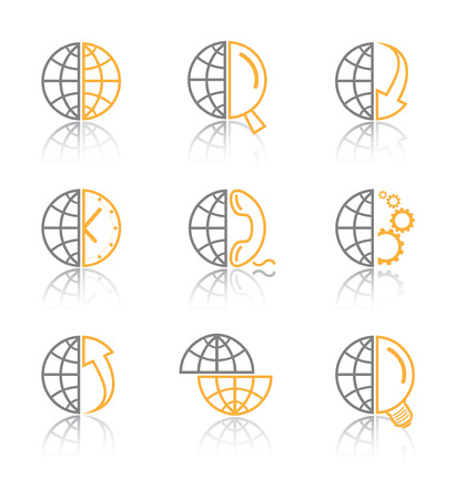 Vector internet icons. Globe set. Simply change. Vector
