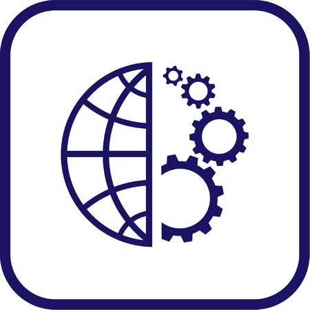Vector globe and gear icon. Simply change. Stock Vector - 3142321