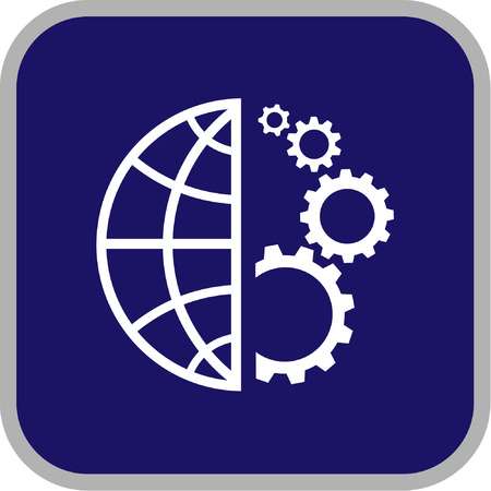 global settings: Vector globe and gear icon. Simply change.