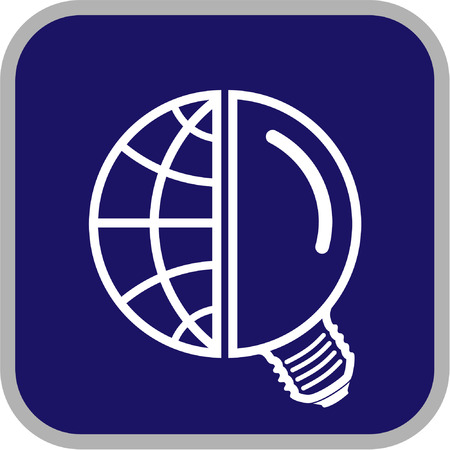 Vector globe and lamp icon. Simply change. Vector