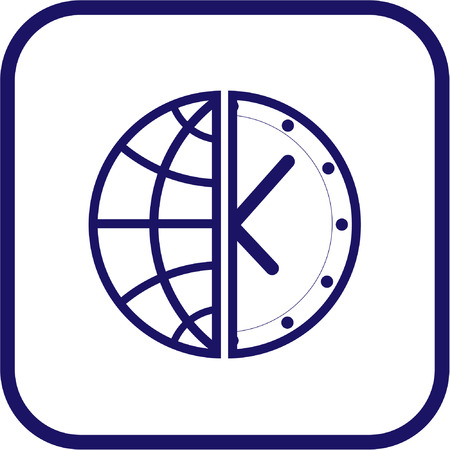 Vector globe and clock icon. Simply change.  Vector