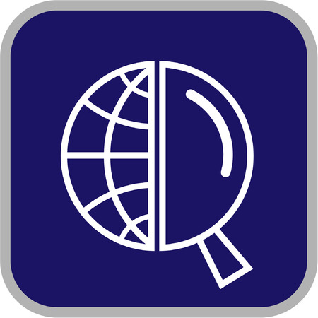 lookup: Vector globe and magnifying glass icon. Simply change.  Illustration