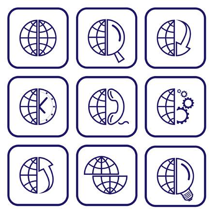 Vector internet icons. Globe set. Simply change. Stock Vector - 3142328