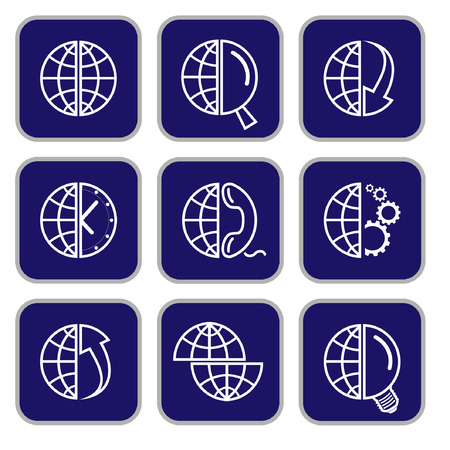 Vector internet icons. Globe set. Simply change. Stock Vector - 3142329