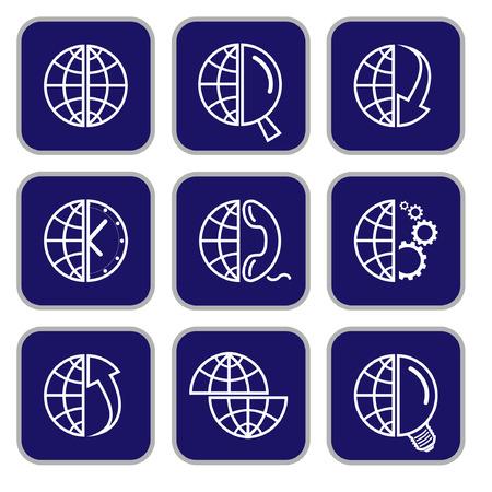Vector internet icons. Globe set. Simply change. Vector