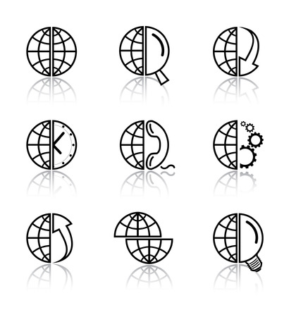 lookup: Vector internet icons. Globe set. Simply change. Illustration