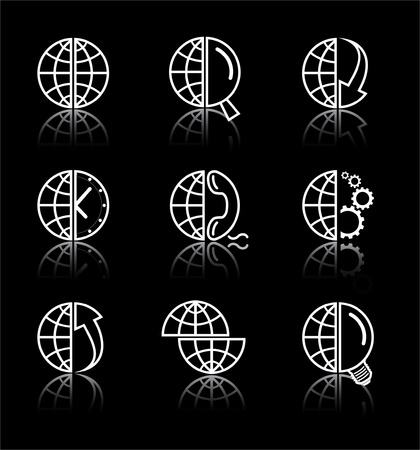 Vector internet icons. Globe set. Simply change. Stock Vector - 3142331