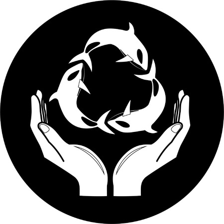 killer: Vector killer whale and hands icon. Black and white. Simply change. Illustration