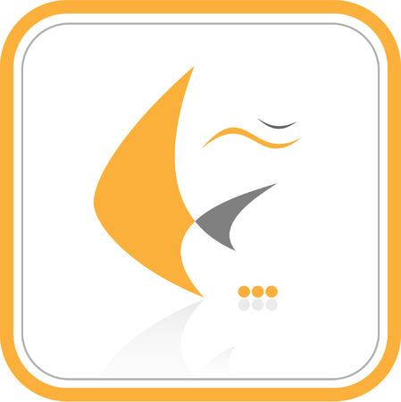 Vector abstract internet icon. Orange set. Simply change. Vector
