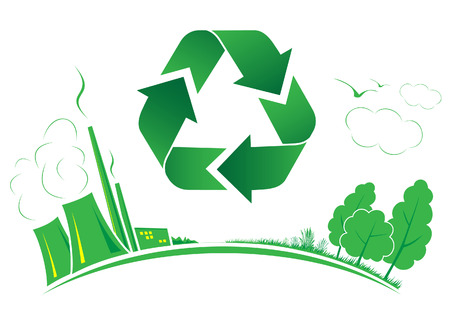 Vector recycle symbol. Green and white. Simply change. Other recycle symbols you can see in my portfolio. Vector