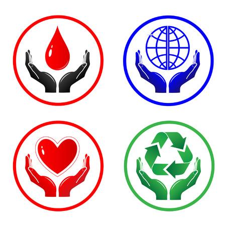 manos logo: Vector iconos. Simplemente el cambio.