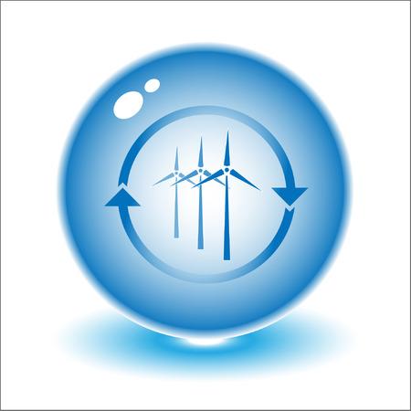 Vector wind turbine illustratie. Eenvoudig wijzigen. Andere ecologische vectoren die u in mijn portefeuille zien kunt.  Vector Illustratie
