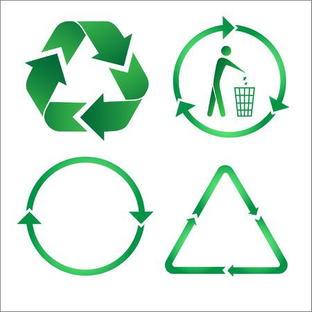 afvalbak: Recycle pictogrammen. Groen en wit. Andere ecologische vectoren u kunt zien in mijn portefeuille.
