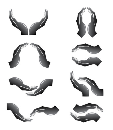 Vector hands icons. Black and white. Simply change.  Illustration