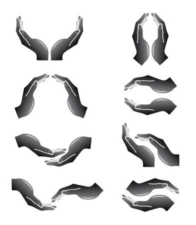 manos: Vector manos iconos. Blanco y negro. Simplemente el cambio.