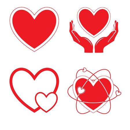 Vector heart icons. Red and white. Simply change. Vector