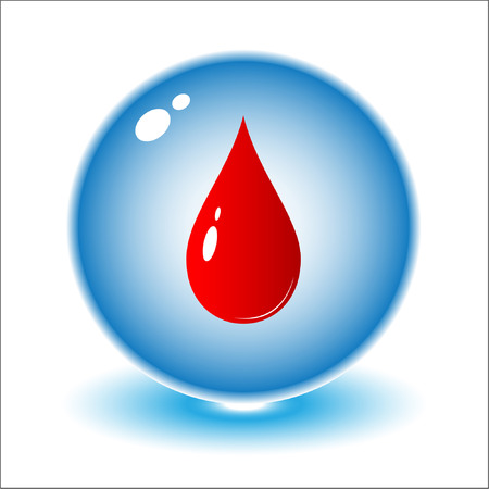 donor: Vector blood drop icon. Red and white. Simply change.
