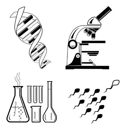 esperma: Vector m�dica iconos. Blanco y negro. Simplemente el cambio. Otros iconos m�dico puede ver en mi cartera.