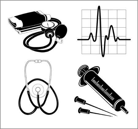 Vector medical icons. Black and white. Simply change. Other medical icons you can see in my portfolio. Stock Vector - 3400376