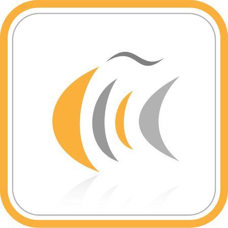 logo poisson: Vecteur abstraite internet ic�ne. Orange ensemble. Simplement changer. Autres ic�nes abstraites, que vous pouvez le voir dans mon portefeuille.  Banque d'images