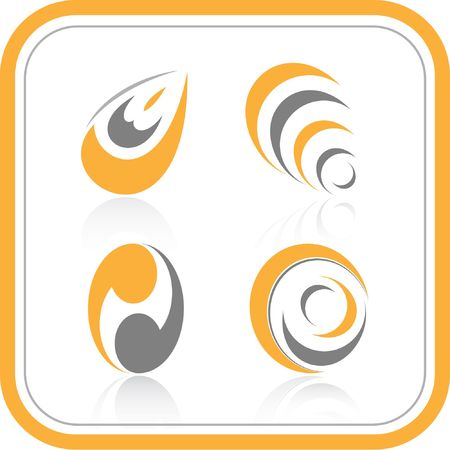 Vector abstract internet icons. Orange set. Simply change. Other abstract icons you can see in my portfolio. Stock Photo - 3576984