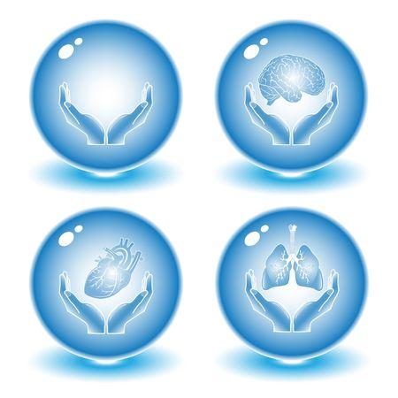 logo medicina: Vector m�dica iconos. Conjunto azul. Simplemente el cambio. Otros m�dicos iconos se puede ver en mi cartera.