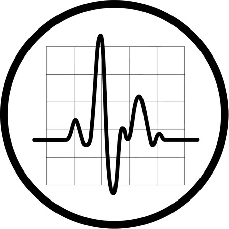 listening to heartbeat: Vector cardiogram icon. Black and white. Simply change.