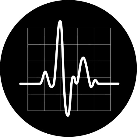 Vector cardiogram icon. Black and white. Simply change. Vector
