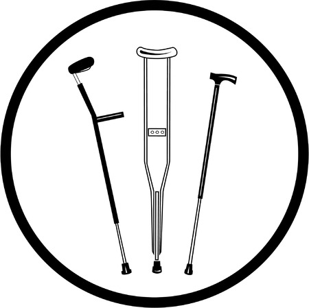 physio: Vector crutches icon. Black and white. Simply change. Illustration