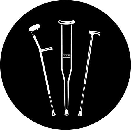 Vector icono muletas. Blanco y negro. Simplemente el cambio.