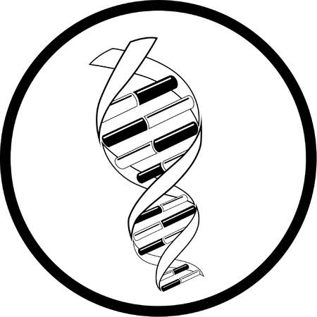 medicine logo: Vector de ADN icono. Blanco y negro. Simplemente el cambio. Vectores