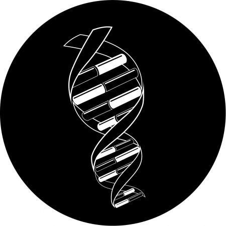 helix border: Vector DNA icon. Black and white. Simply change.
