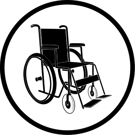 impairment: Vector invalid chair icon. Black and white. Simply change.  Illustration