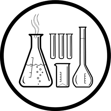 test glass: Vector chemical test tubes icon. Black and white. Simply change. Illustration