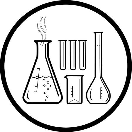 Vector chemicznych probówki ikony. Czarno-biały. Wystarczy zmienić.