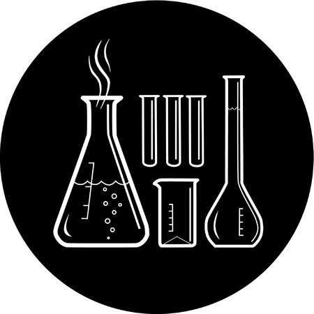 vaso de precipitado: Tubos de ensayo qu�mico de vectores icono. Blanco y negro. Simplemente el cambio.