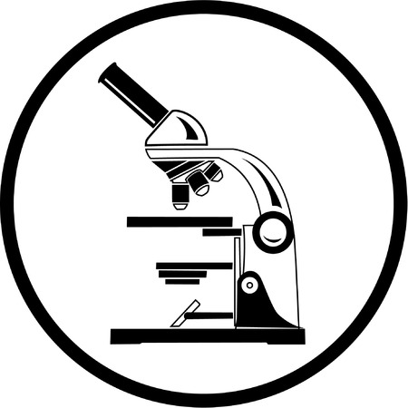 medical logo: Vector microscope icon. Black and white. Simply change.