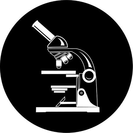 Vektor-Mikroskop-Symbol. Schwarz und Weiß. Einfach ändern.