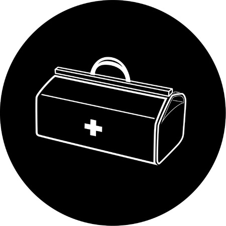 Vector medical suitcase icon. Black and white. Simply change.  Vector