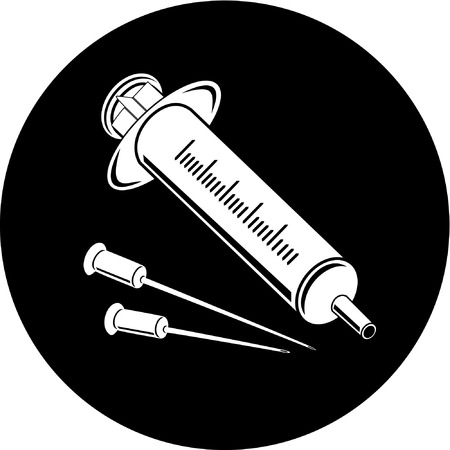 Vector syringe icon. Black and white. Simply change.